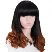 Tonake Women Long Curly Wavy Hair Wig Ombre Synthetic Fully Head Fancy Dress Wig
