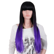 Tonake Women Long Straight Hair Wig Ombre Black to Dye Purple Synthetic Fully Head Dress Wig