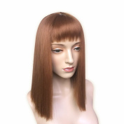 Namecute Shoulder Brown Wigs Straight Kanekalon Synthetic Wig with Full Bangs for Women