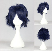 Women's Wig Cosplay Wig K Project - Saru Hiko Fushimi Blue Black 32 cm