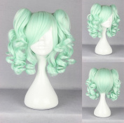 Women's Wig Cosplay Wig with Clip In Mint Green Curly Pigtails Approximately 35 cm