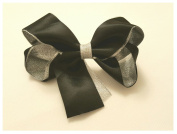 BFab 11cm Fancy Hair Bow with Clip Pin Satin and Silver Organza