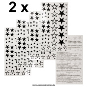 2 x 58 Stars Temporary Tattoos new solid hollow five-pointed star - No China!