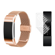 Fitbit Charge 2 Band with Screen Protectors, TUSITA® Replacement Band Loop Metal Stainless Steel Bracelet Smart Watch Strap Fitness Tracker Heart Rate Monitor Wristband