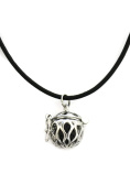 Destination Oils Basic Black Cowhide Essential Oil Lava Stone Diffuser Necklace-46cm - 50cm