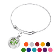 HOUSWEETY Aromatherapy Essential Oil Diffuser Bracelet-Stainless Steel Locket Bracelet,11 Refill Pads