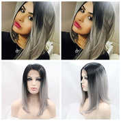 short grey bob hair Synthetic lace front wig for women nature colour with heat resistant fibre darg queen African American black and white women