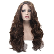 Synthetic lace front wig for women wig with heat resistant fibre darg queen African American black and white women