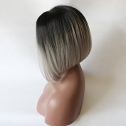 grey bob Synthetic lace front wig for women dark root bob wig with heat resistant fibre darg queen African American black and white women