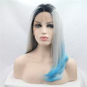 Synthetic lace front wig for women black silver to blue bob wig with heat resistant fibre darg queen African American black and white women