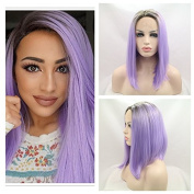 Synthetic lace front wig for women ombre brown to purple bob with dark root with heat resistant fibre darg queen African American black and white women