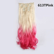 60cm 7pcs Full Head Clip in on Hair Extensions 135g Long Wavy /Natural Curl Synthetic Hair Extension for Women's Beauty