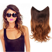 HairPhocas 50cm Brown to Caramel Blond Ombre Colour Secret Hair Extensions Synthetic Curly Wave Hairpieces