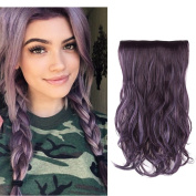 HairPhocas 50cm Black Purple Mixed Violet Dip Dye Secret Hair Extensions Synthetic Curly Wave Hairpieces