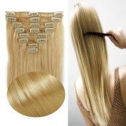100% Real Remy Clip in Hair Extensions 41cm - 60cm Grade AAAAA Natural Hair Full Head Standard Weft 8 Pieces 18 Clips Long Smooth Soft Silky Straight