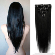 100% Real Remy Clip in Hair Extensions 41cm - 60cm Grade AAAAA Natural Hair Full Head Standard Weft 8 Pieces 18 Clips Long Smooth Soft Silky Straight for Women Fashion