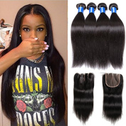 Moxika Hair Straight Human Hair Weave 8A Brazilian Virgin Hair Three Part Lace Closure with 3 Bundles Mixed Size Length Straight Weave Perfect for Natural Colour Hair Weft