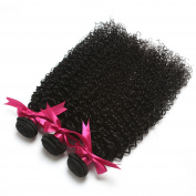 Yavida Hair Virgin Mongolian Afro Kinky Curly Human Hair Extensions for Black Women Natural Black Total 300g