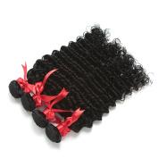 Yavida Brazilian Deep Wave Extensions Full Head 7a Unprocessed Virgin Deep Curly Weave 4 Bundles Remy Human Hair(10 10 12 12 )Natural Colour