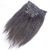 Prida Star Grade 7A Mongolian Kinky Straight Virgin Human Hair Natural Colour Clip Hair With Baby Hair