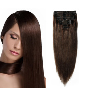 25cm / 25cm Double Weft 100% Remy Human Hair Clip in Extensions Grade 7A Quality Full Head Thick Short Soft Silky Straight 8pcs 18clips for Women Beauty 110g #2 Dark Brown