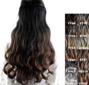 FESHFEN 60cm Long Curly Ombre Two Tone Synthetic Hair Extensions Clip in on Hairpieces 5 Clips One Piece 3/4 Full Head Cosplay Party Style for Women Xmas Gifts Black to Medium Ash Brown