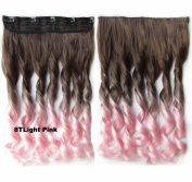 FESHFEN 60cm Long Curly Ombre Two Tone Synthetic Hair Extensions Clip in on Hairpieces 5 Clips One Piece 3/4 Full Head Cosplay Party Style for Women Xmas Gifts Medium Ash Brown to Light Pink