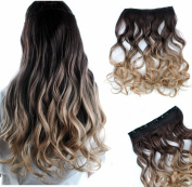 FESHFEN 60cm Curly Ombre Two Tone Synthetic Hair Extensions Clip in on Hairpieces 5 Clips One Piece 3/4 Full Head Cosplay Party Style for Women Xmas Gifts Medium Golden Brown to Dark Honey Blond