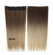 FESHFEN 60cm Straight Ombre Two Tone Synthetic Hair Extensions Clip in on Hairpieces 5 Clips One Piece 3/4 Full Head Cosplay Party Style for Women Xmas Gifts Medium Golden Brown to Dark Honey Blond