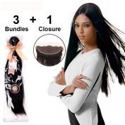 LADYSTAR Straight Hair with Closure(13x4) Brazilian Virgin Hair 3 Bundles 100% Human Hair Extensions