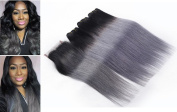 Brazilian Straight Remy Hair Weave 3 Bundles With Lace Closure Dark Grey Ombre 100% Human Hair Extensions With Closure 1B/Grey -16 16 16+30cm