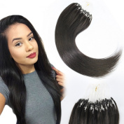 ATOZHair Loops Micro Rings Beads Tipped Remy Human Hair Extensions Long Straight Black hair 100S 0.5G/S