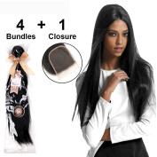 LADYSTAR Straight Hair with Closure(4x4) Brazilian Virgin Hair 4 Bundles 100% Human Hair Extensions