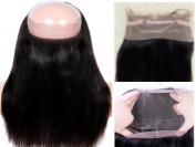 OBeauty Hair Full 360 Lace Frontal 360 Degree Lace Band Virgin Peruvian Straight Human Hair 22.54 Circle with Baby hair around Natural Hairline 30cm 82Grams
