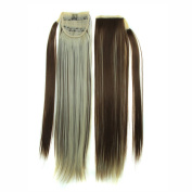 60cm 130g Straight Synthetic Wrap Around on Ponytail Clip in Hair Extensions Hairpiece Accessories Mixing Colour ( #12/613 ) for Girl Lady Woman