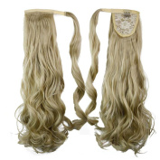 60cm 120g Curly Wave Synthetic Wrap Around on Ponytail Clip in Hair Extensions Hairpiece Accessories Pure Colour ( #24/613 ) for Girl Lady Woman