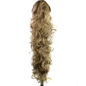 60cm 200g Curly Wave Synthetic Clip in Claw Ponytail Hair Extension Hairpiece Accessories Pure Colour ( #16/18 ) with a Jaw/Claw Clip for Girl Lady Woman