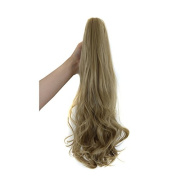 60cm 180g Curly Wave Synthetic Clip in Claw Ponytail Hair Extension Hairpiece Accessories Light Blonde ( #24 ) with a Jaw/Claw Clip for Girl Lady Woman