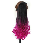 60cm 180g Curly Wave Two Tone Ombre Colour Synthetic Wrap Around on Ponytail Clip in Hair Extensions Natural Black to Pink Hairpiece Accessoriesfor Girl Lady Woman