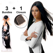 LADYSTAR Straight Hair with Closure(4x4) Brazilian Virgin Hair 3 Bundles 100% Human Hair Extensions