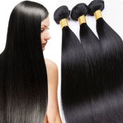 100% Unprocessed Brazilian Virgin Human Hair Extensions Silky Straight Weft 300g Natural Black Colour #1B