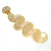 VK Platinum Blonde Colour No613 Brazilian Remy Human Hair Weaving Extensions Body Wave 1Bundle/100gram Nontangle and Non shedding 50cm