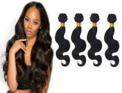 Brazilian Virgin Remy Body Wave Human Hair Extension Weave 36cm 4 Bundles 100% Unprocessed Virgin Hair Weave Weft, Natural Black Body Wave 400g Total