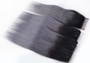 Remy Brazilian Straight Virgin Hair Black Dark Grey Weave 3 Bundles With Closure 4 Pcs Lot 1B Grey Ombre Human Hair Extensions Weft -14 16 18+30cm