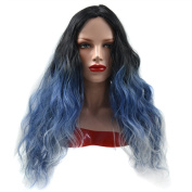 Stepupgirl Ombre Wig, 60cm Black Blue White 3 Colour Middle Curly Synthetic Cospaly Party Full Head Hair