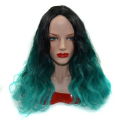 Stepupgirl Ombre Wig, 50cm Black to Peacock Green Colour Middle Curly Synthetic Cospaly Party Full Head Hair