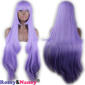 Rossy & Nancy Synthetic Long Silk Straight Purple Hair Cosplay Wig with Bangs for Black Women