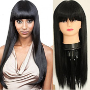 PlatinumHair Synthetic Lace Front Wigs Black Straight Wigs With Bangs Heat Resistant Natural Looking Glueless Synthetic Wigs 46cm - 70cm