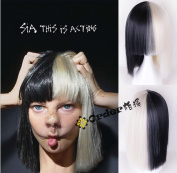 TLT Halloween Wig Women Short Bob Kinky Straight Full Bangs Synthetic Black and Blonde BU107