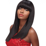 PlatinumHair #1B Straight Wigs with Bangs Synthetic None Lace Wigs Glueless Synthetic Wigs 46cm - 60cm